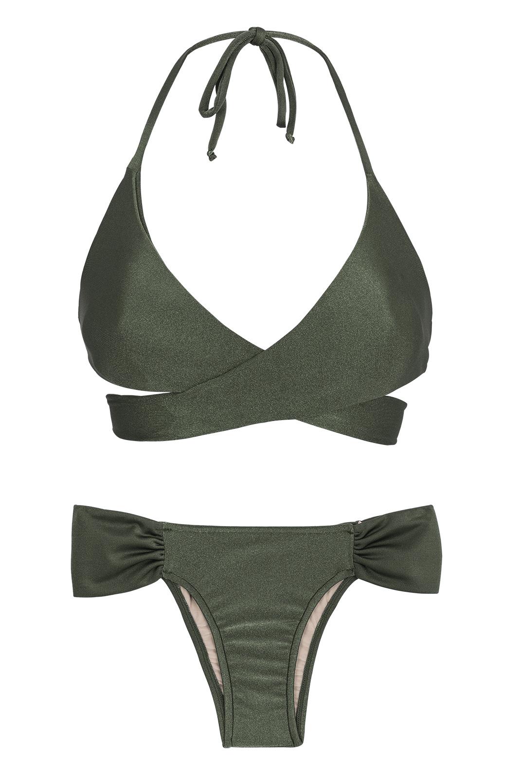 4e435ad5cd4691 Two Piece Swimwear Khaki Wrap Bra Bikini - Croco Transpassado
