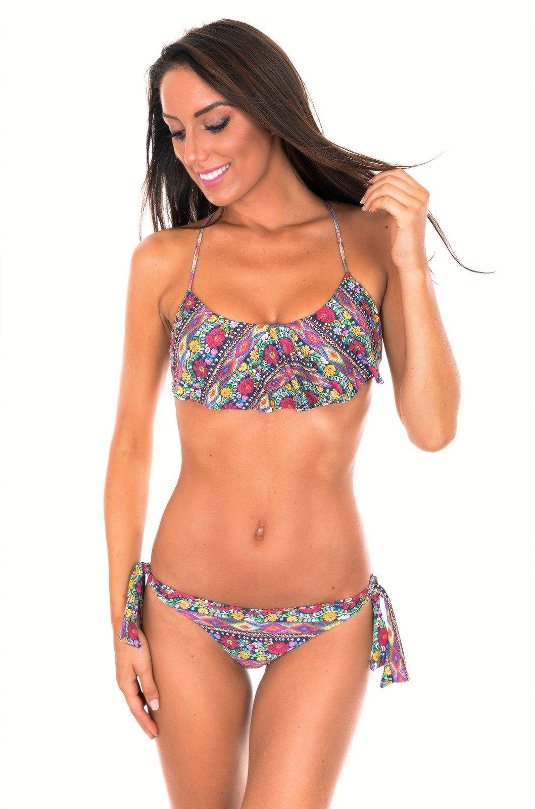 Da Annodare Top Con E E Floreale Volant Stampa Bikini Brasiliano gUxwnU5