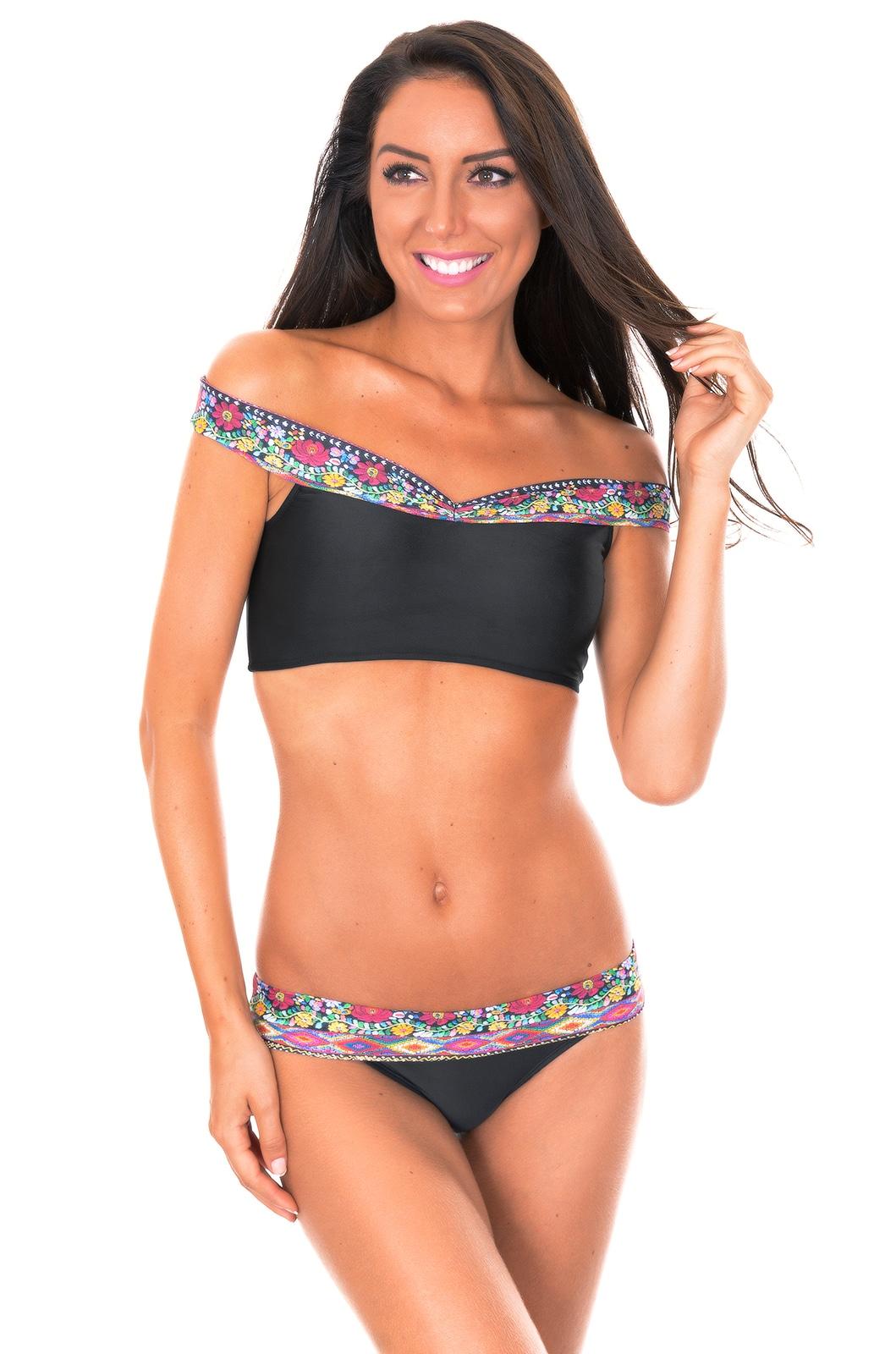 d8e02a4436fa8 Black Print Crop Top Off Shoulder Bikini - Folk Shoulder - Rio de Sol