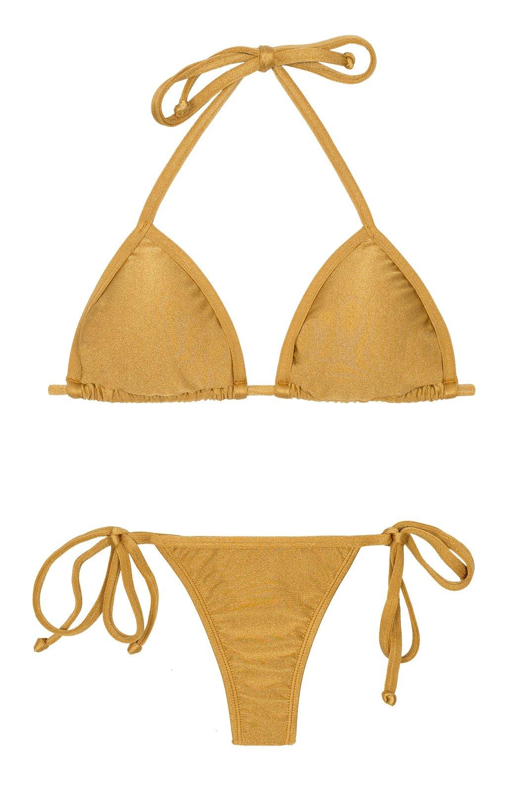f75c682a4dec3 Gold Bikini With Tie-side Thong Bottoms - Gold Tri Micro - Rio de Sol