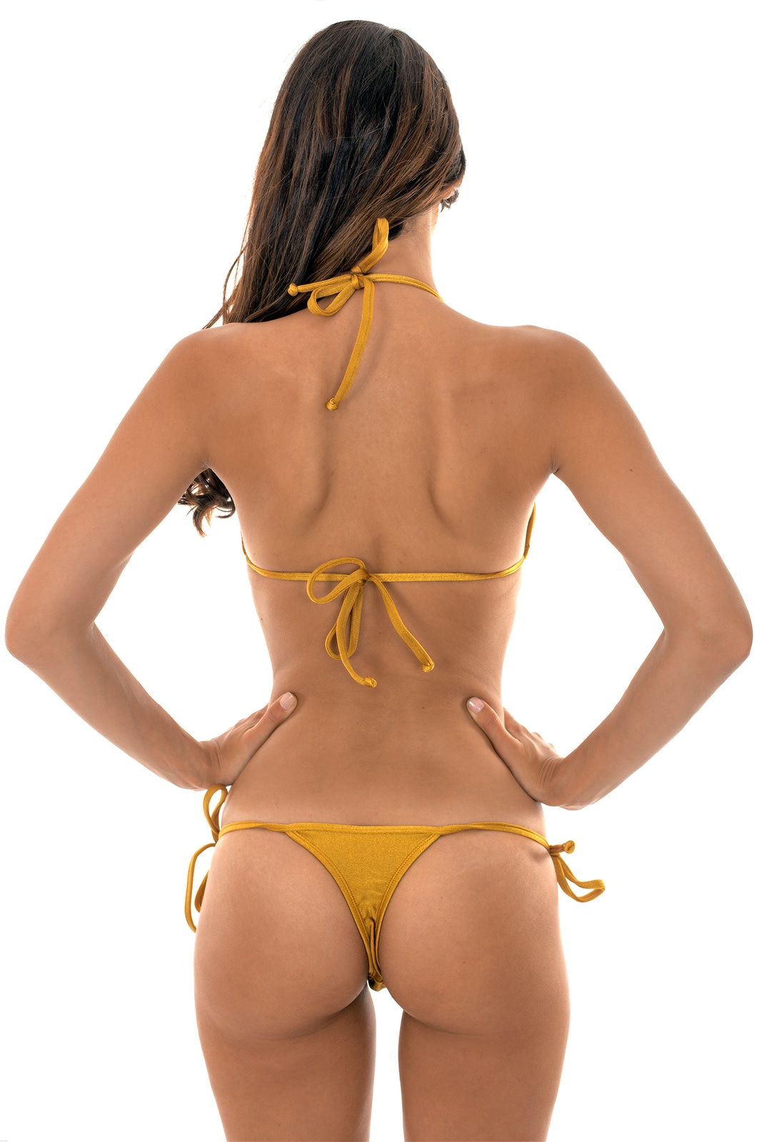 e727a0ec31 Gold Bikini With Tie-side Thong Bottoms - Gold Tri Micro - Rio de Sol