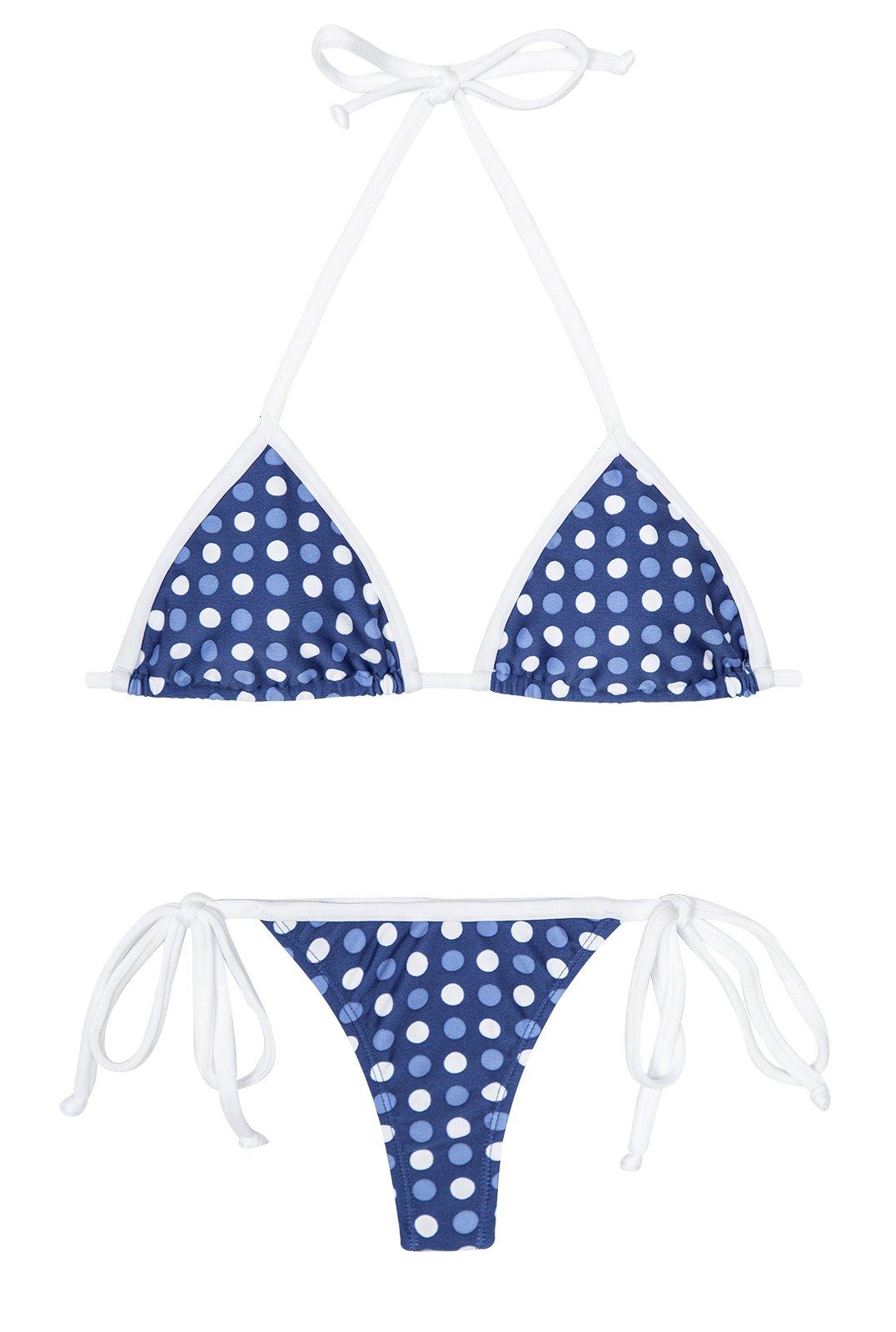 Blue/White Polkadot Thong Swimsuit Golfinho