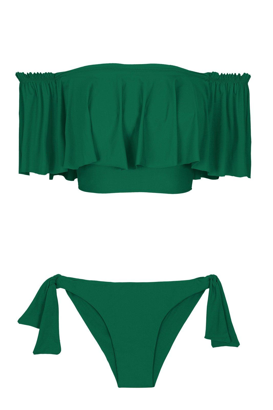 d7d70138744591 Green Flounced Off-the-shoulder Crop Top Bikini - Mandacaru Babado - Rio de  Sol