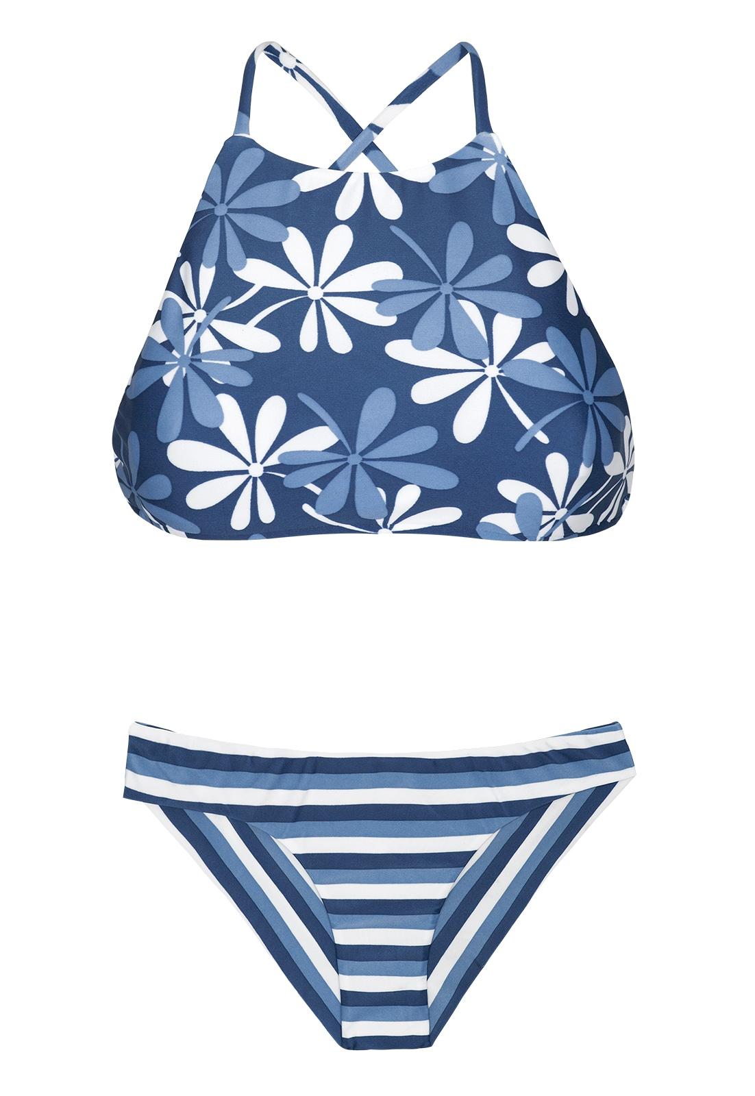 55d3faee154 Bikini Gestreepte En Gebloemde Gecropte Bikini - Maresia Sporty
