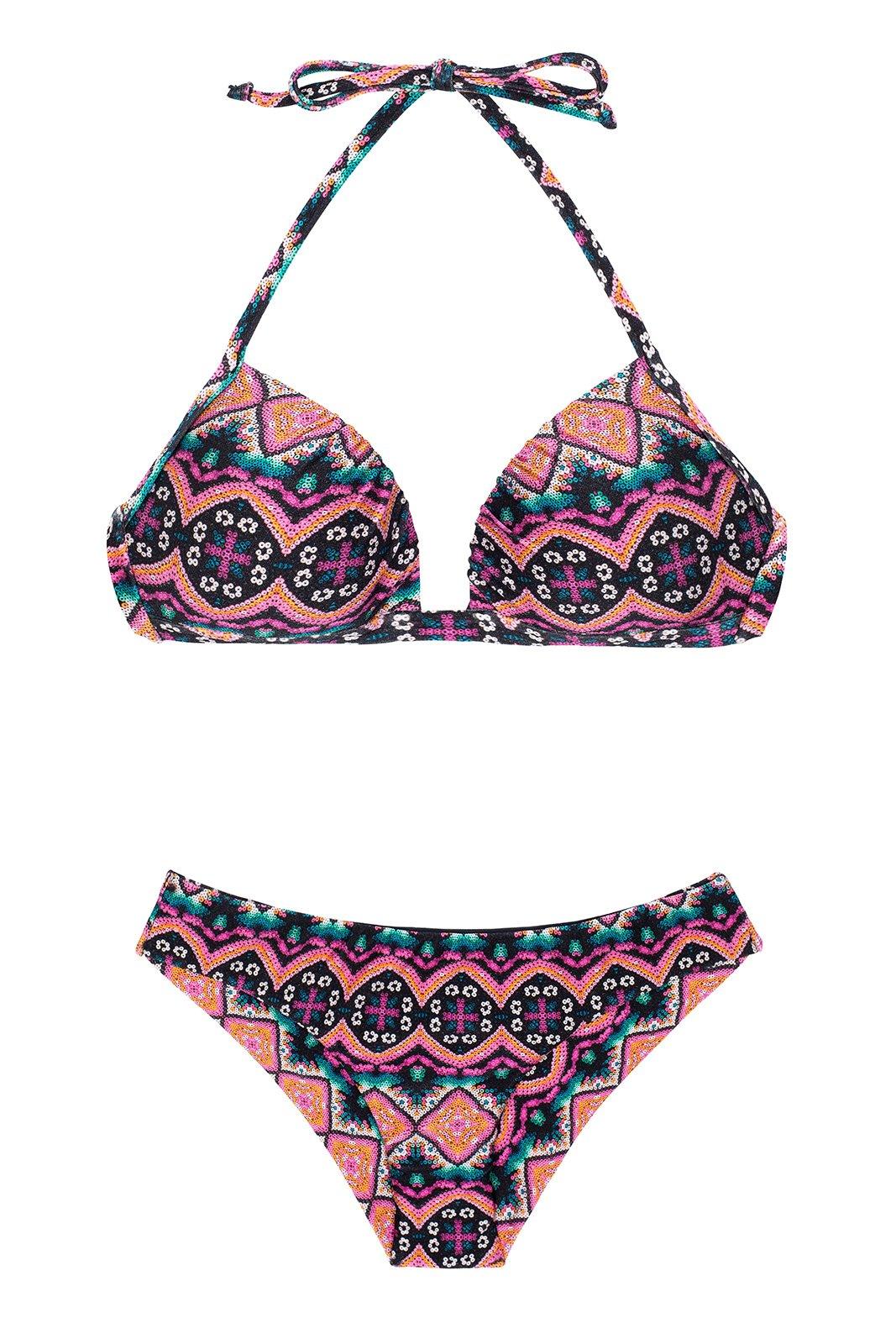 Bikini push up paddé fixe ethnique rose - NEW ETHNIC BORBOLETA 96da0b9a610