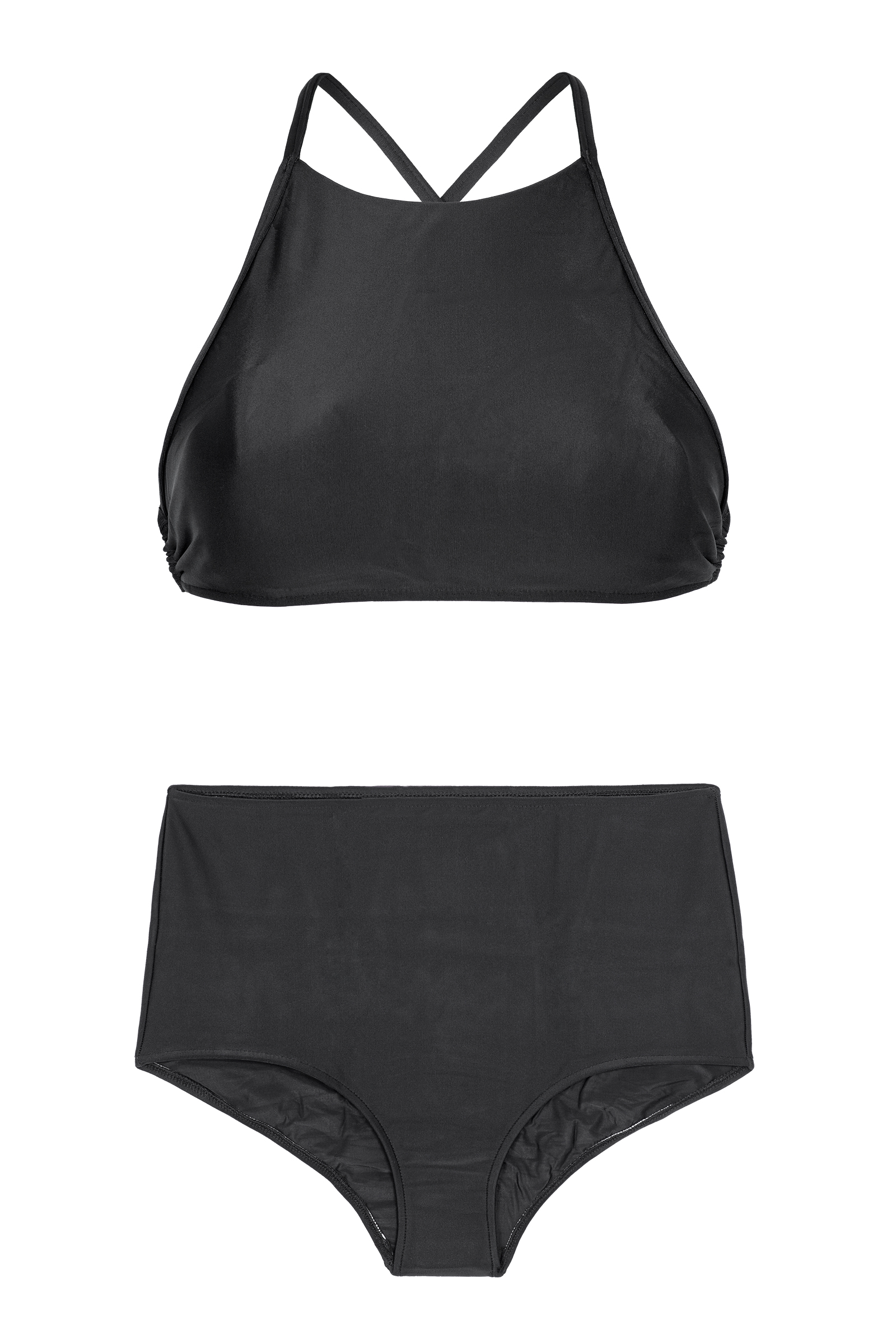 f8fe5b3a6a Black High-waisted Bathing Suit With Crop Top - Noiti - Rio de Sol