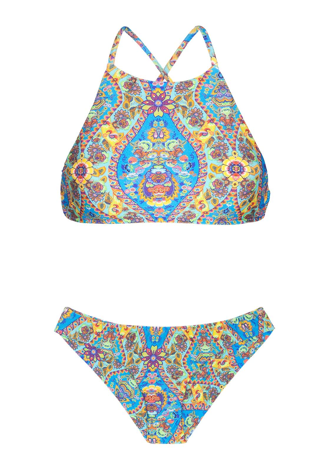 1bd596f84ffc Bikini Corpiño Tipo Camisilla Estampado Azul Estilo Vintage - Sari Cropped