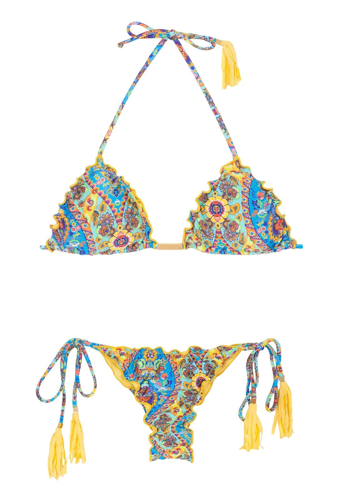 90701d65d39a Bikini tipo tanga fruncido bordes ondulados, borlas - SARI FRUFRU FIO ...
