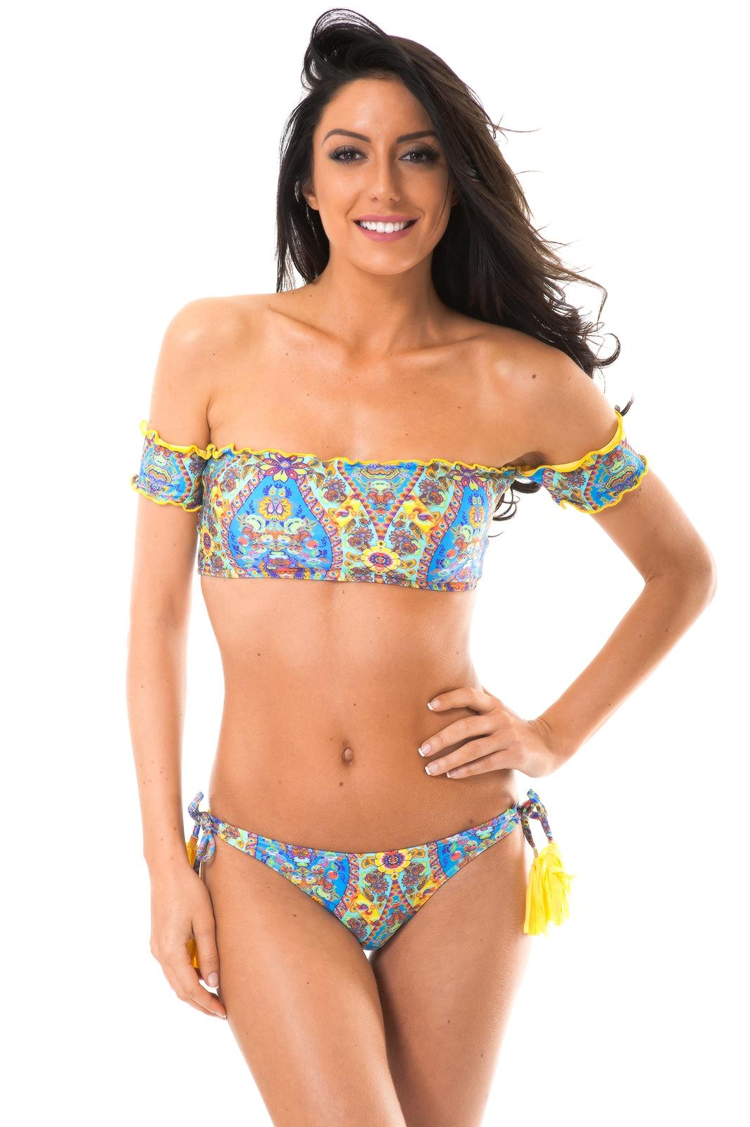 1b36c706d64514 ... Bardot off-shoulder bandeau bikini with tassel detail - SARI OFFSHOULDER  POMPOM ...