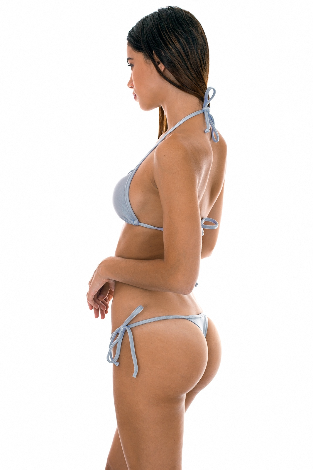 9461fc13f7519 Silver G-string Swimsuit Which Can Be Tied - Silver Tri Micro - Rio ...
