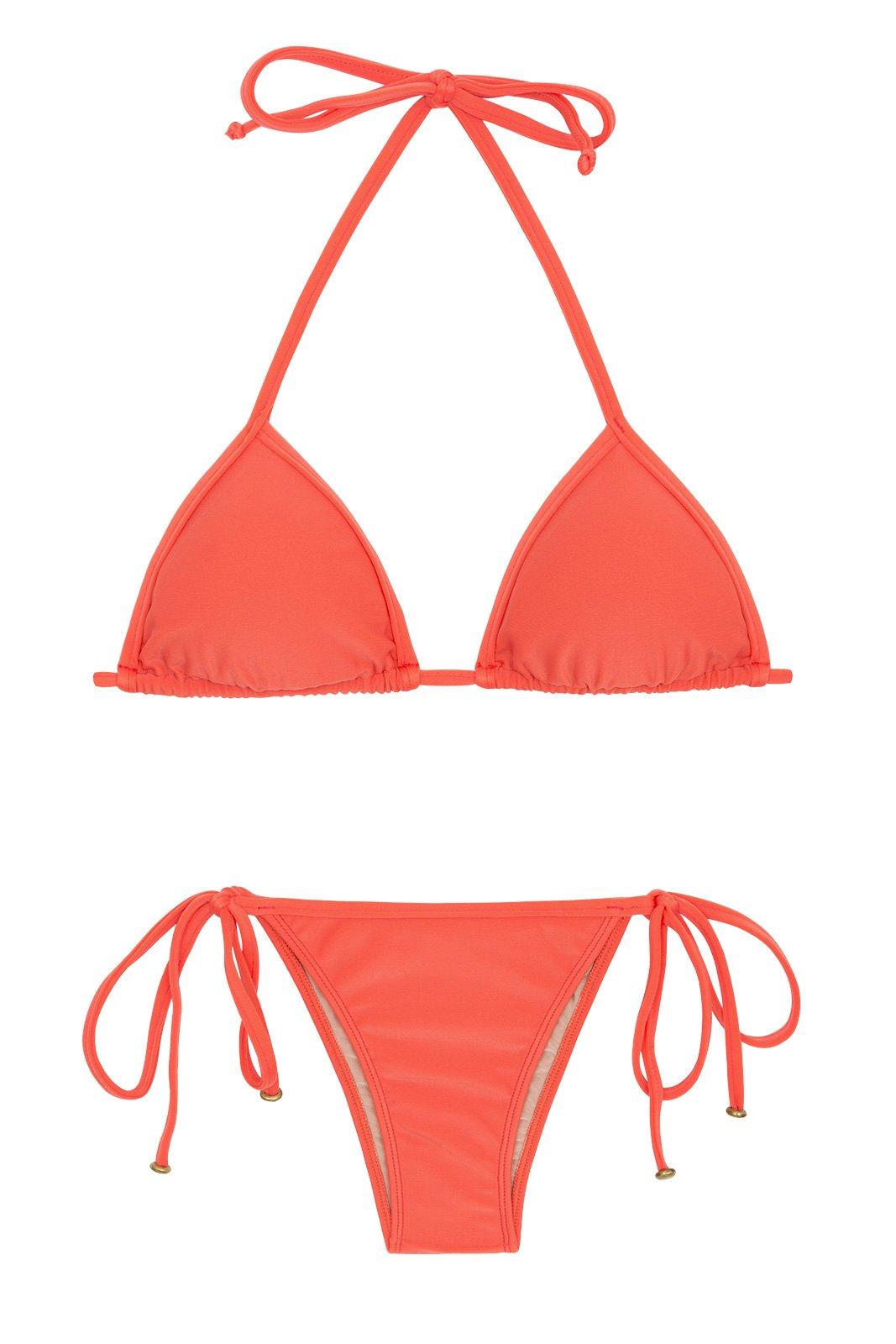 091b88f949fb Bikini Brasileño Rosa Salmón Con Top Triángulo Deslizante - Tabata Tri