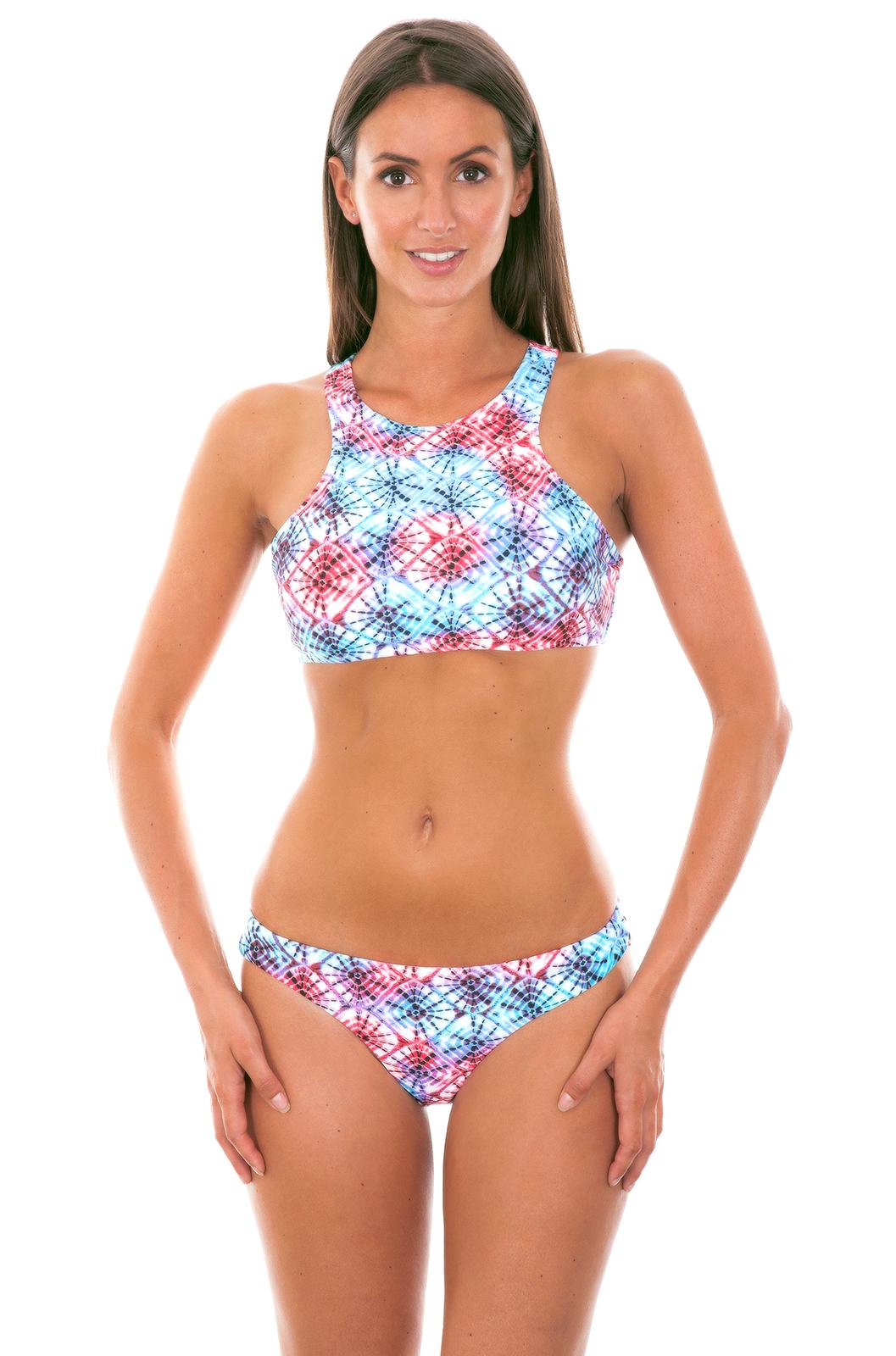 121f53521cd762 ... Tie dye pink blue swimmer back crop top bikini - TIEJEAN SPORTY ...