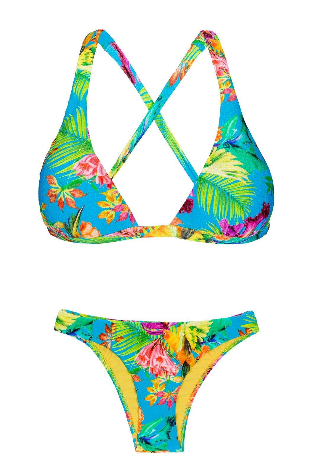7c492bbc029 Tropical Floral Non-adjustable Halter Triangle Bikini - Tropical Blue  Cortinao - Rio de Sol