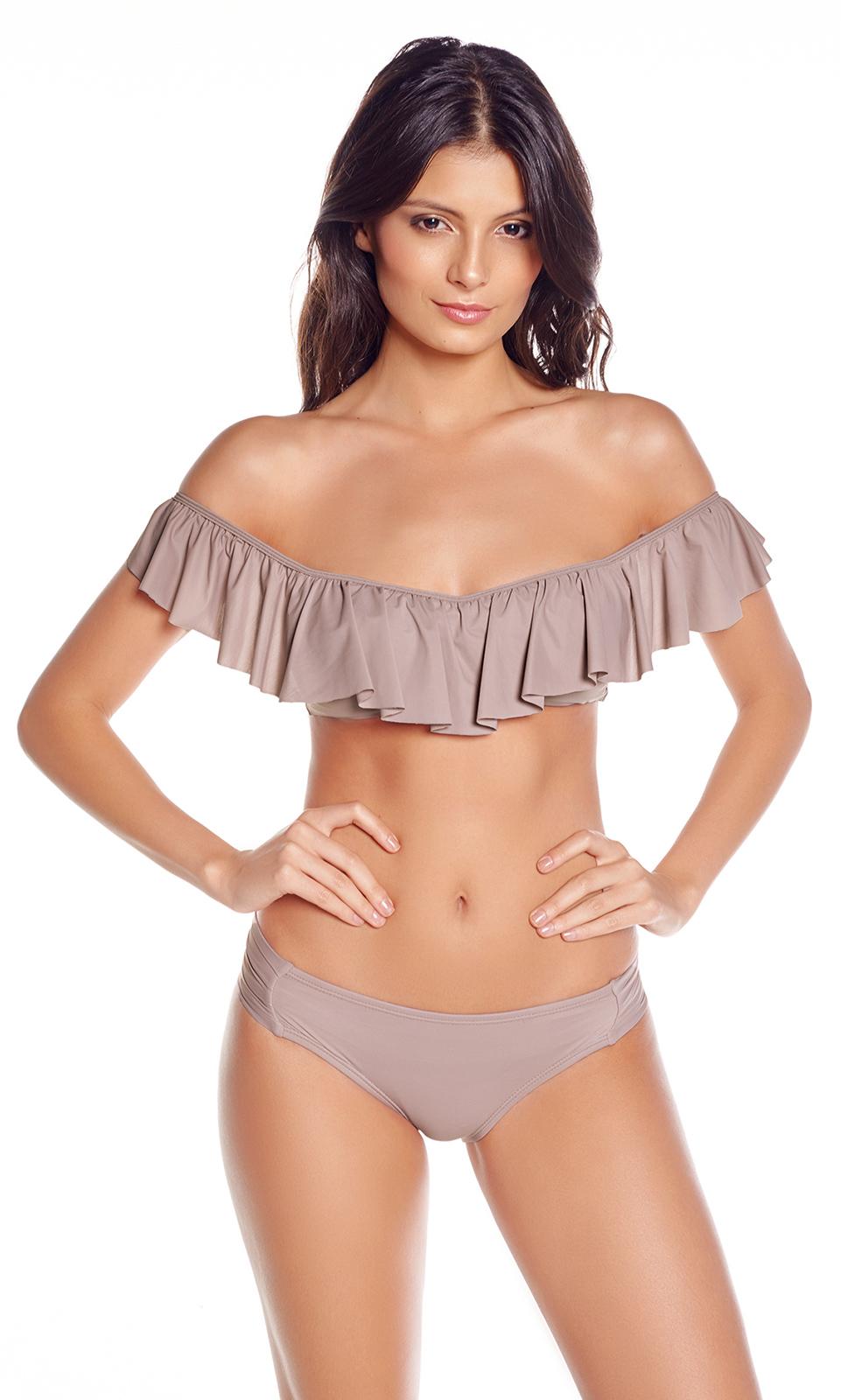 8397dc55af49 Bikini Rosa Y Beige Con Top Bandeau Multi Posición Con Volant - Ondas  Perfeitas