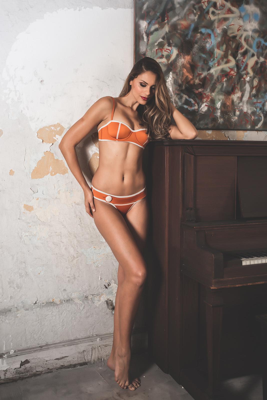 a7f04b8c035d8 Retro Style Orange Neoprene Pushup Bikini - Lena Sophia - Salt Sun ...