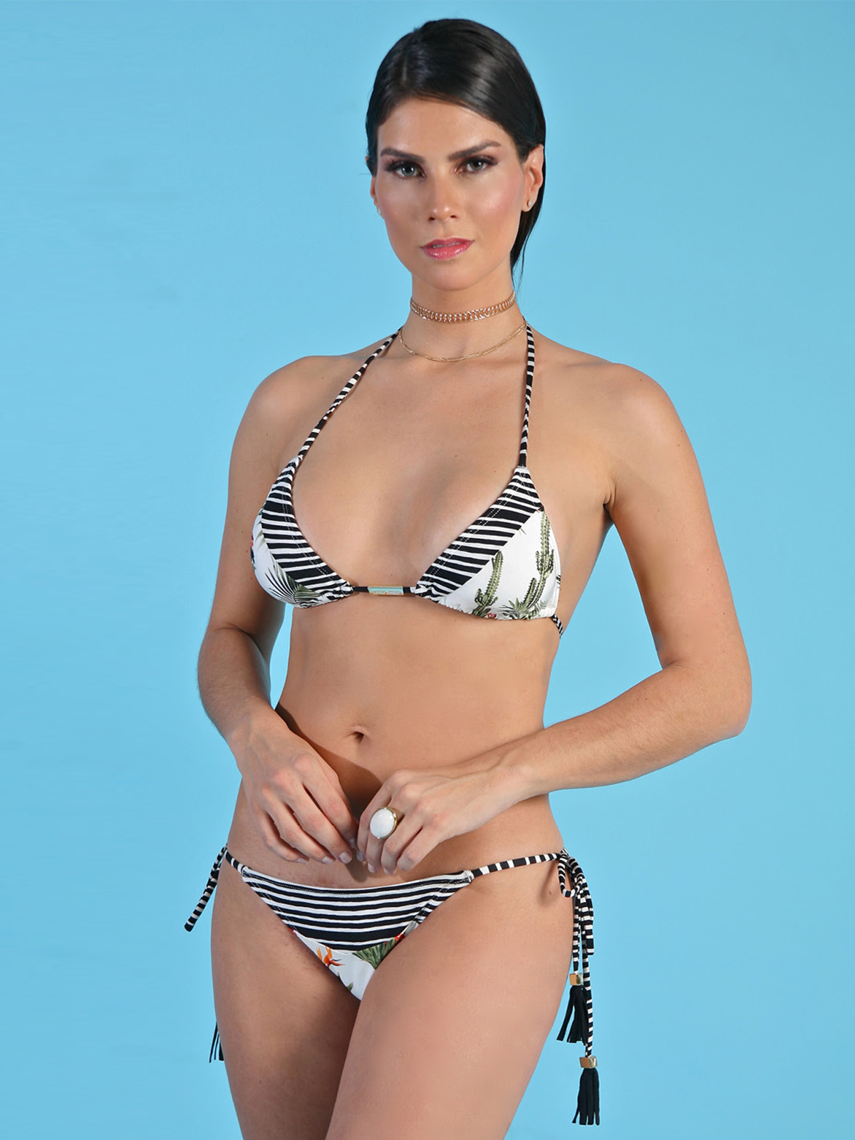 30a76553741d6 Brazilian bikini with mixed print (stripes   tropical) - REC ESTAMPADO ...