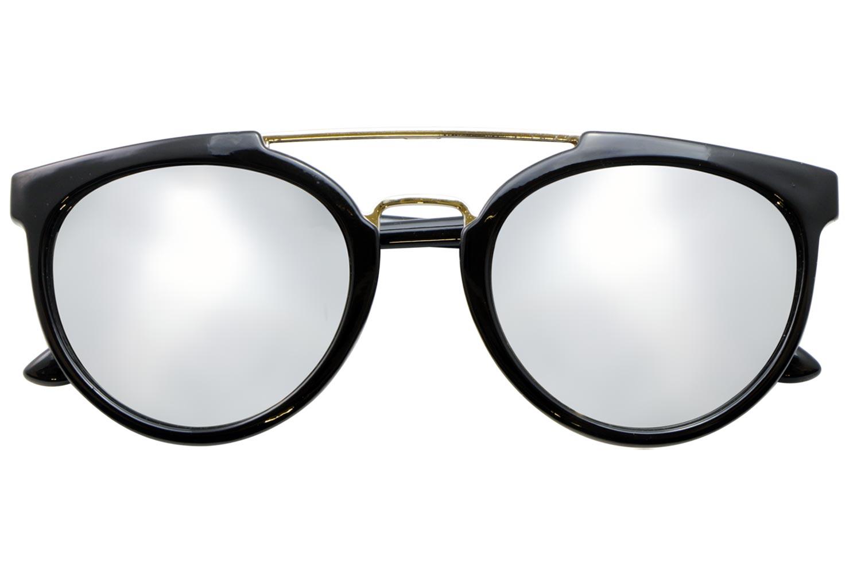 Gafas de sol negras con cristales de espejo plateados y - Cristales y espejos ...
