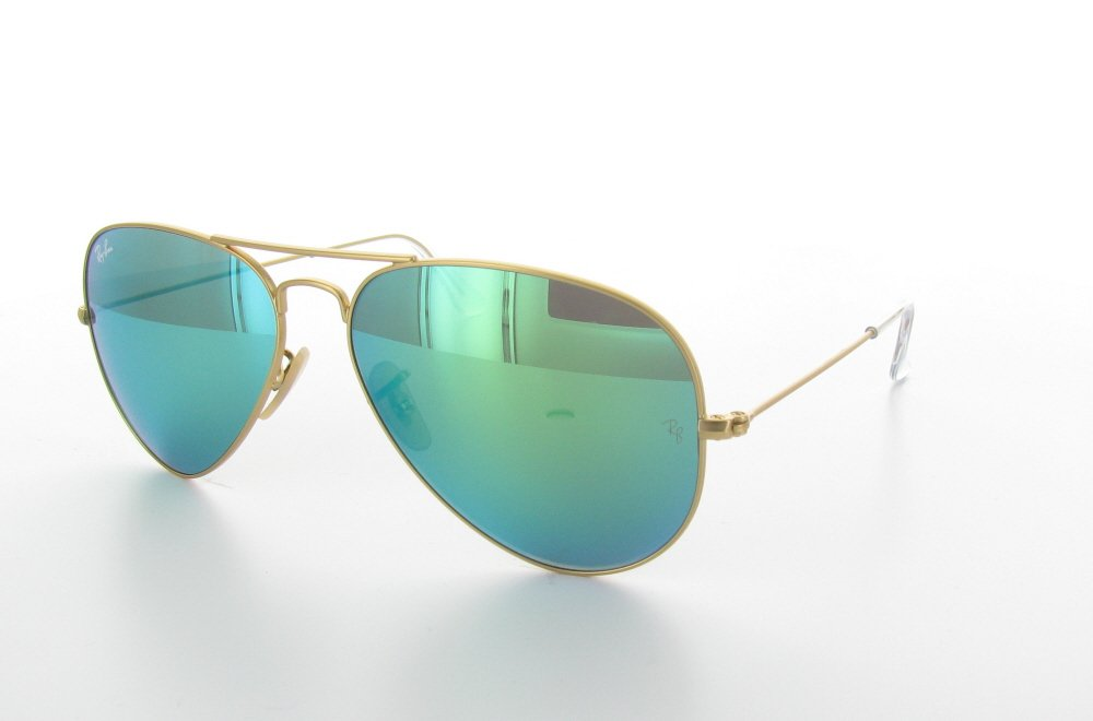 Sunglasses with gold frame and green mirror lenses for Ray ban aviator miroir