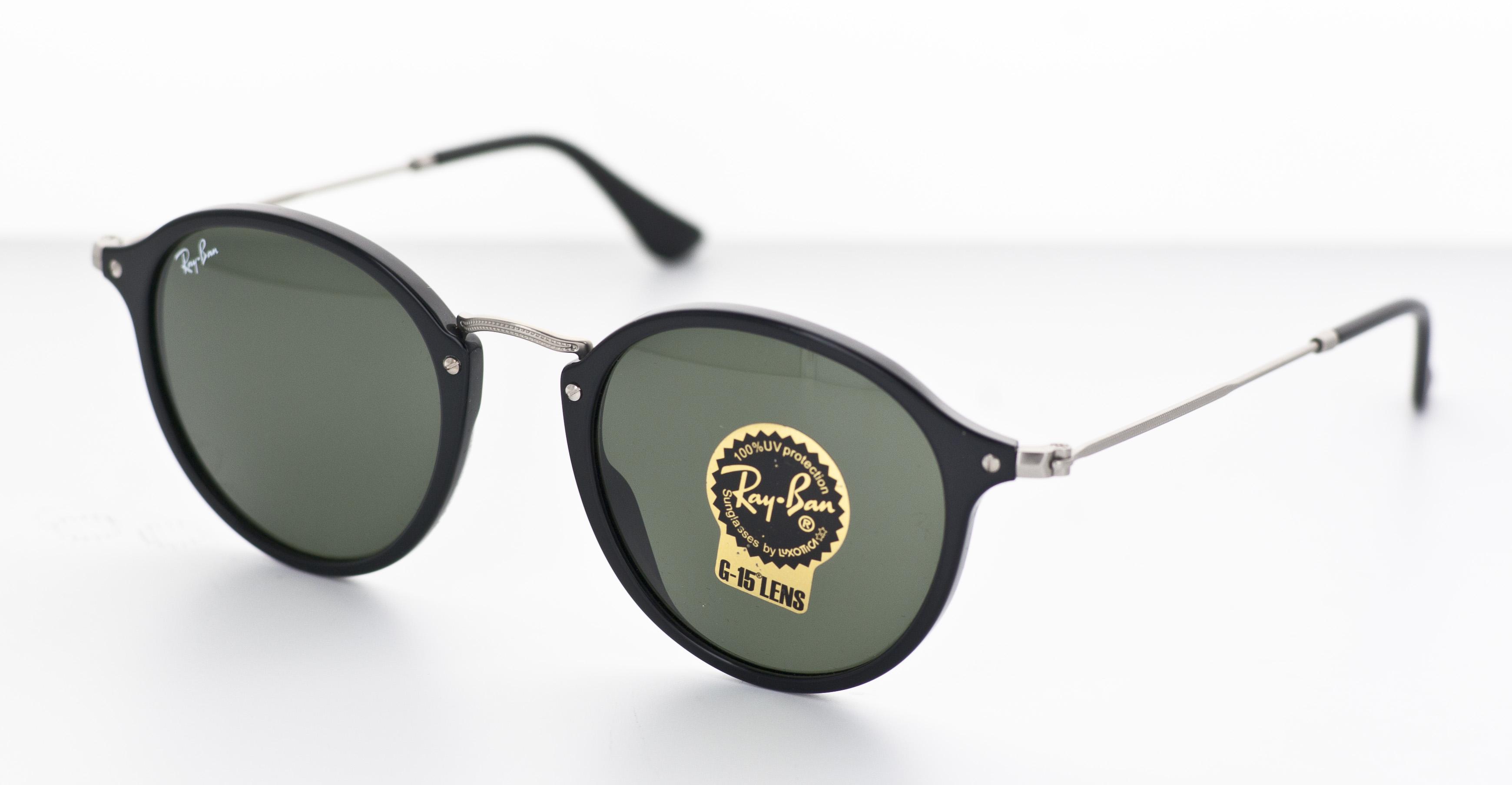 Gafas de sol redondas con montura negra , ROUND FLECK BLACK RB2447