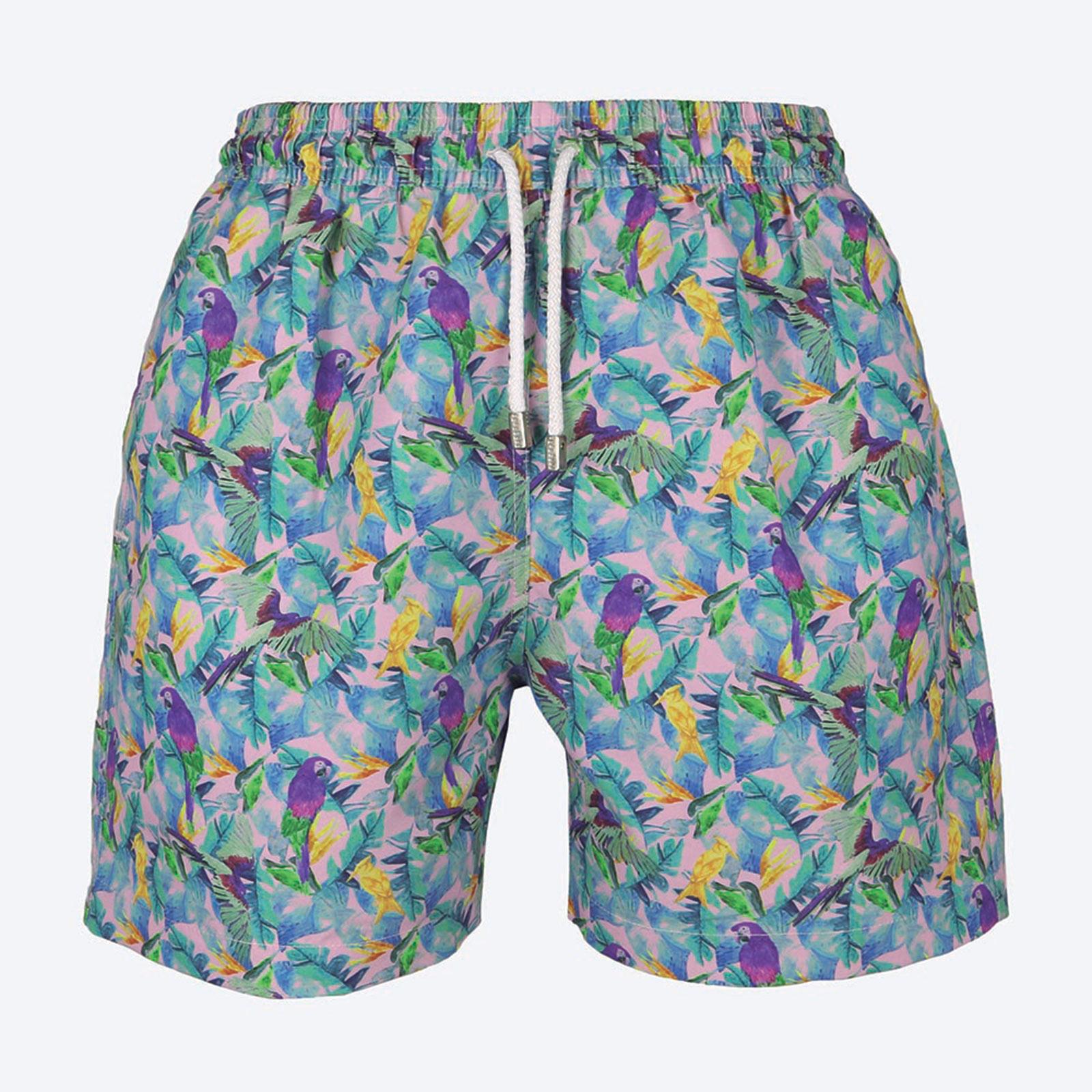 Pantalones Cortos De Natacion Para Hombre Estampa Loro Guacamayas Roxo Palmacea