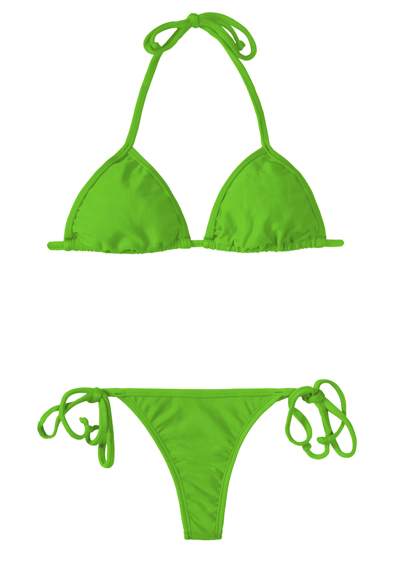 Bikini String Vert Pomme, Triangle Coulissant