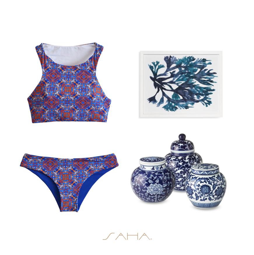 saha maillot de bain crop top bleu et bas r versible urania. Black Bedroom Furniture Sets. Home Design Ideas