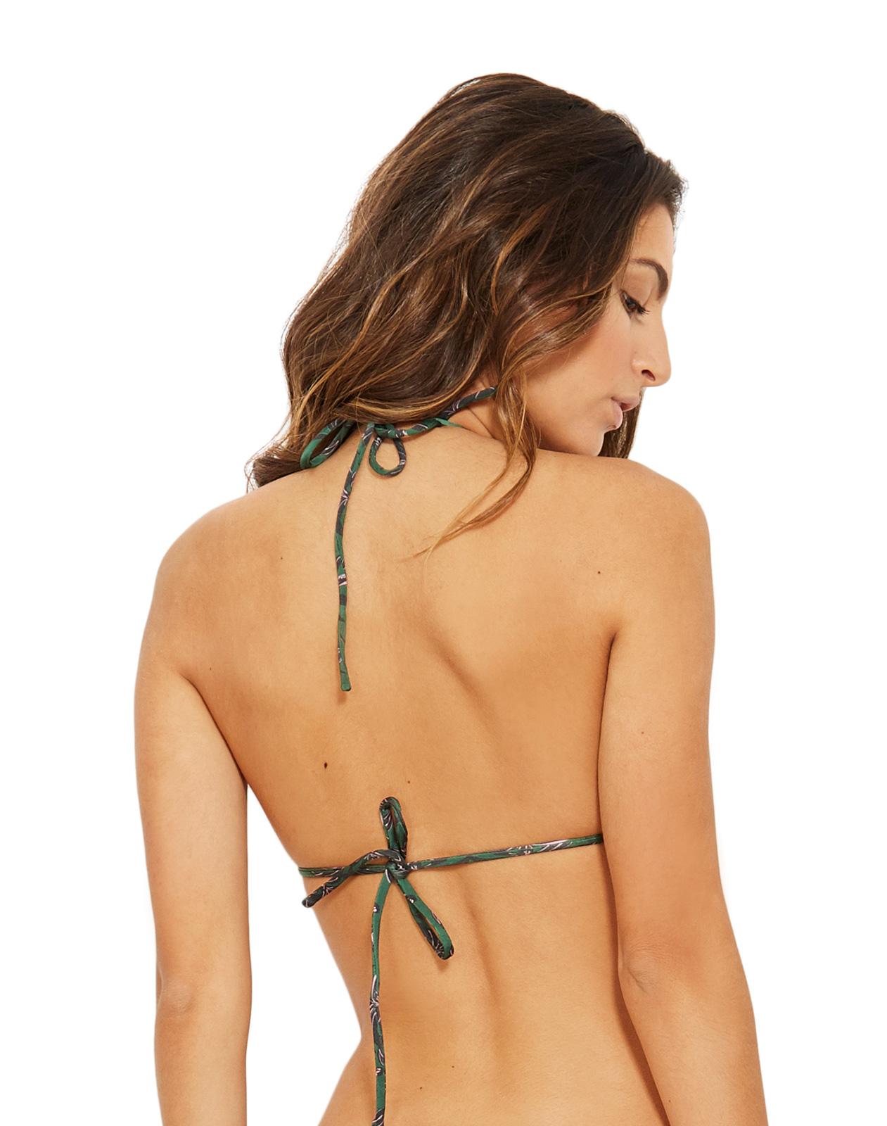 b5615641c1717 Bikini Tops Green Triangle Bikini Top In Palm Trees - Top Mel Coqui