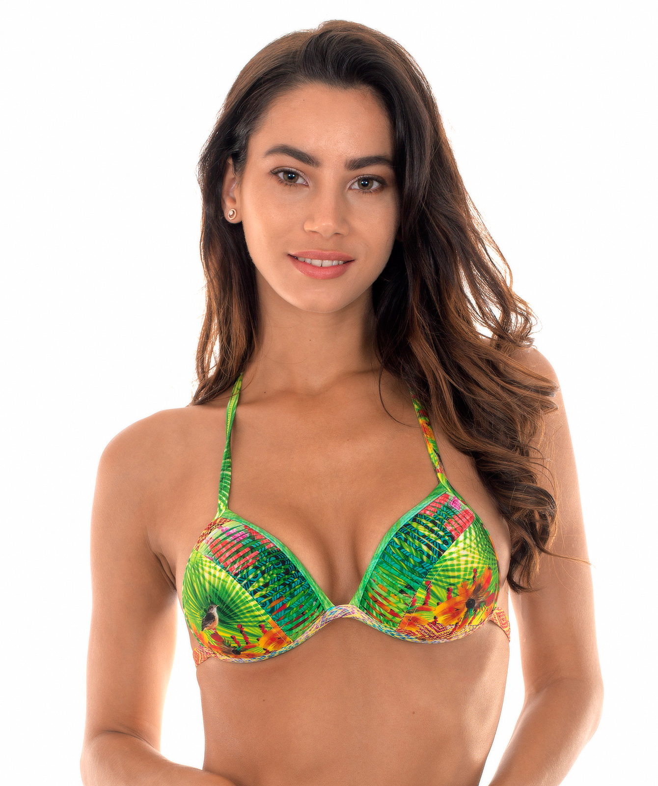 760c9ba5ae Padded tropical triangle bikini top with pompons - SOUTIEN TERRA TIRAS ...