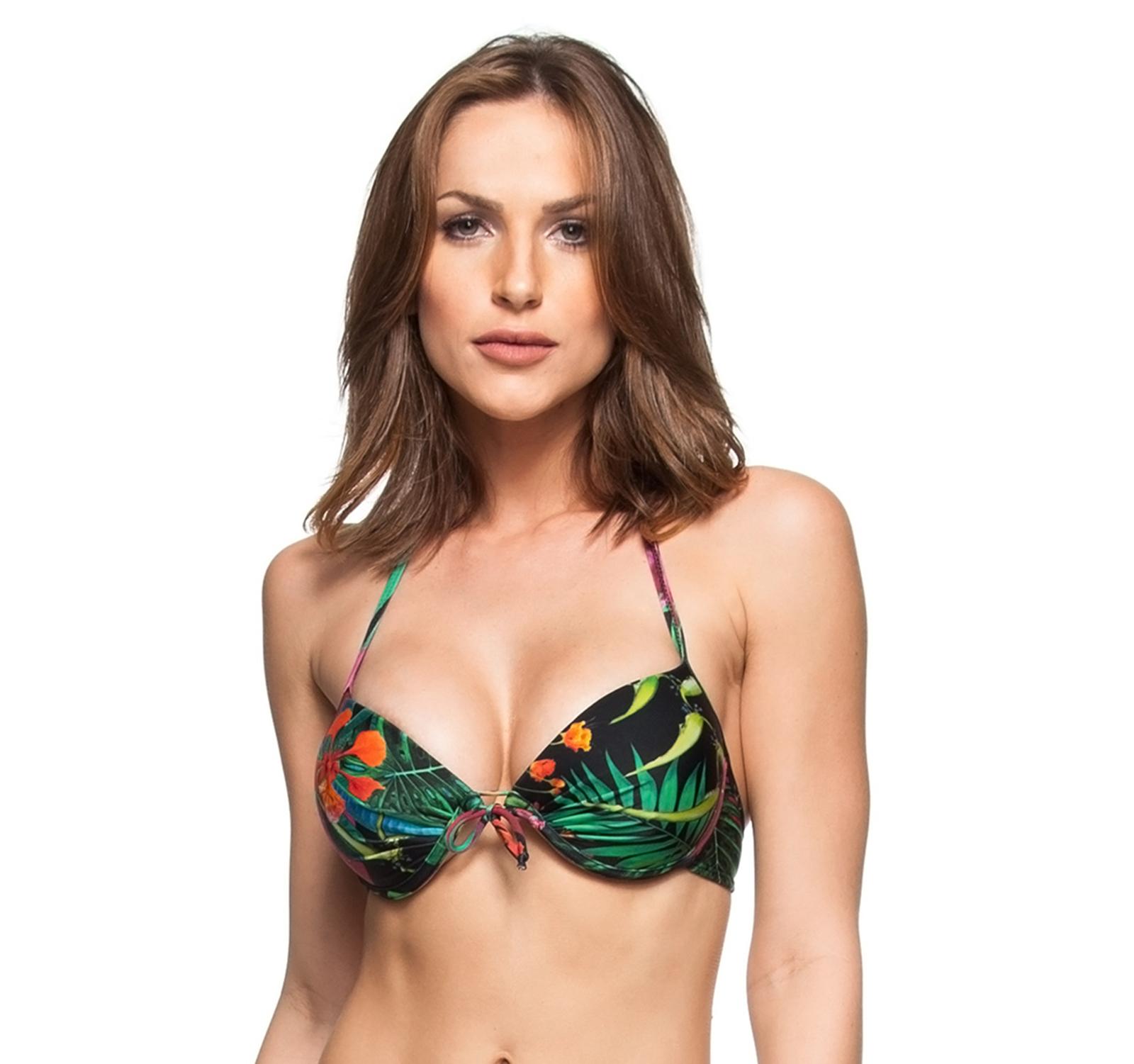 03b2c74873 Black push-up bikini top with underwire and tropical print - TOP AGUAS DE  CUBA ...