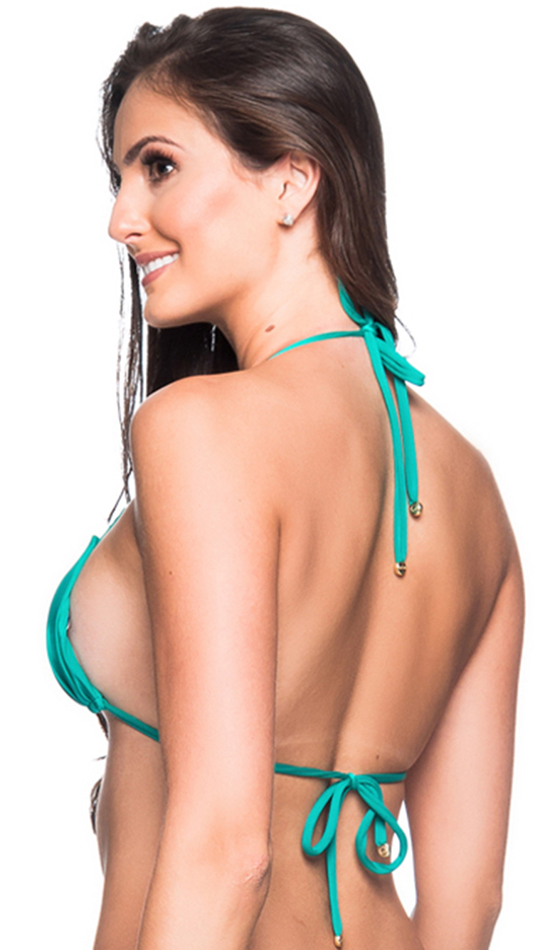 18d36ed6d0967 Green Triangle Padded And Pleated Top - Top Bojo Arquipelago - La Playa
