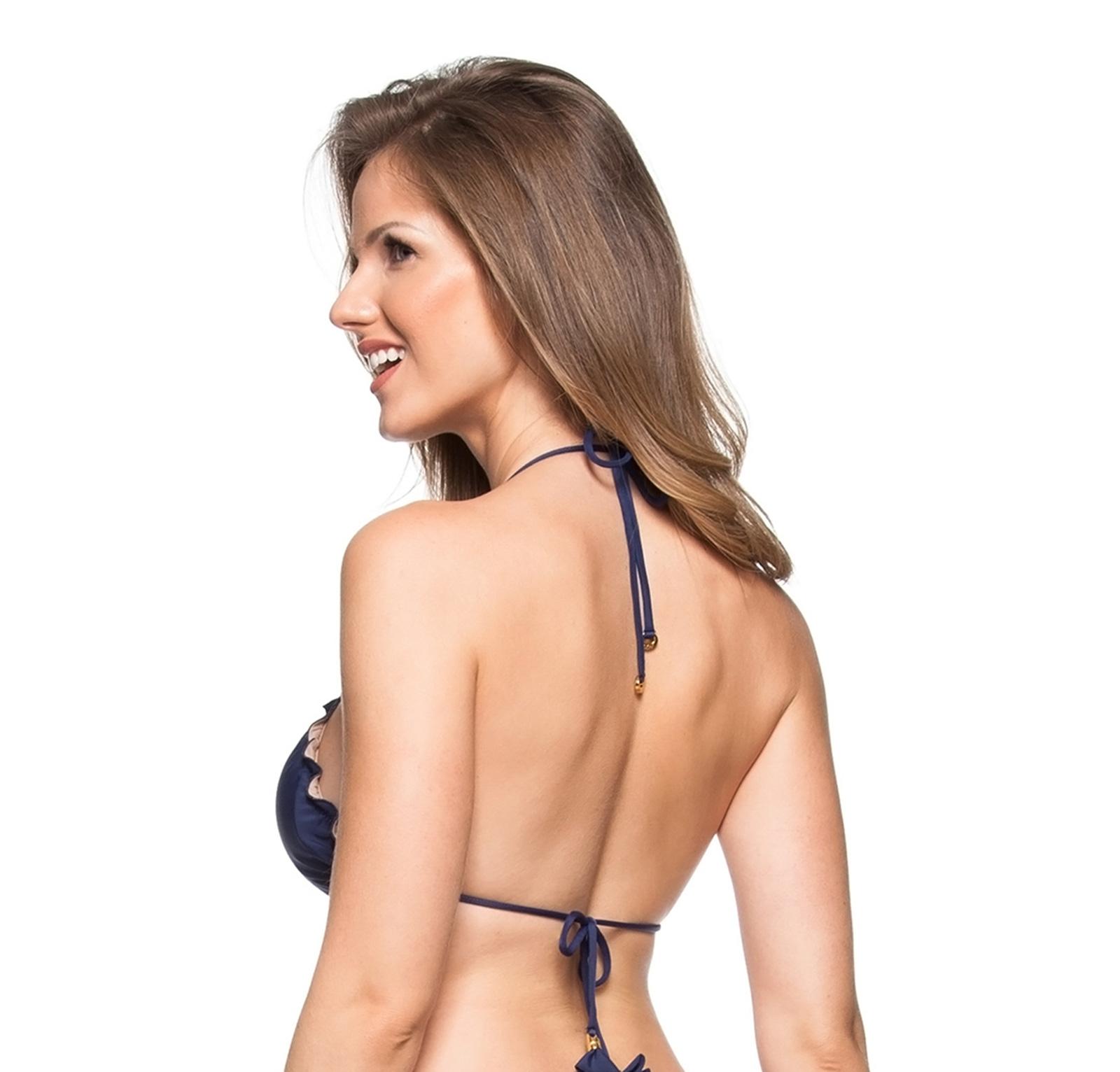 cde697cb014d6 Bikini Tops Navy Blue Bikini Top With Wavy Edges - Top Cor Do Mar