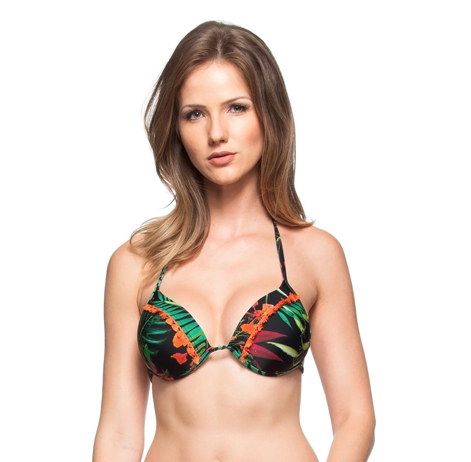 655348e384 Hard Padded Black Brazilian Bikini Top With Tropical Print And Orange  Pompons - Top Ilha Bonita