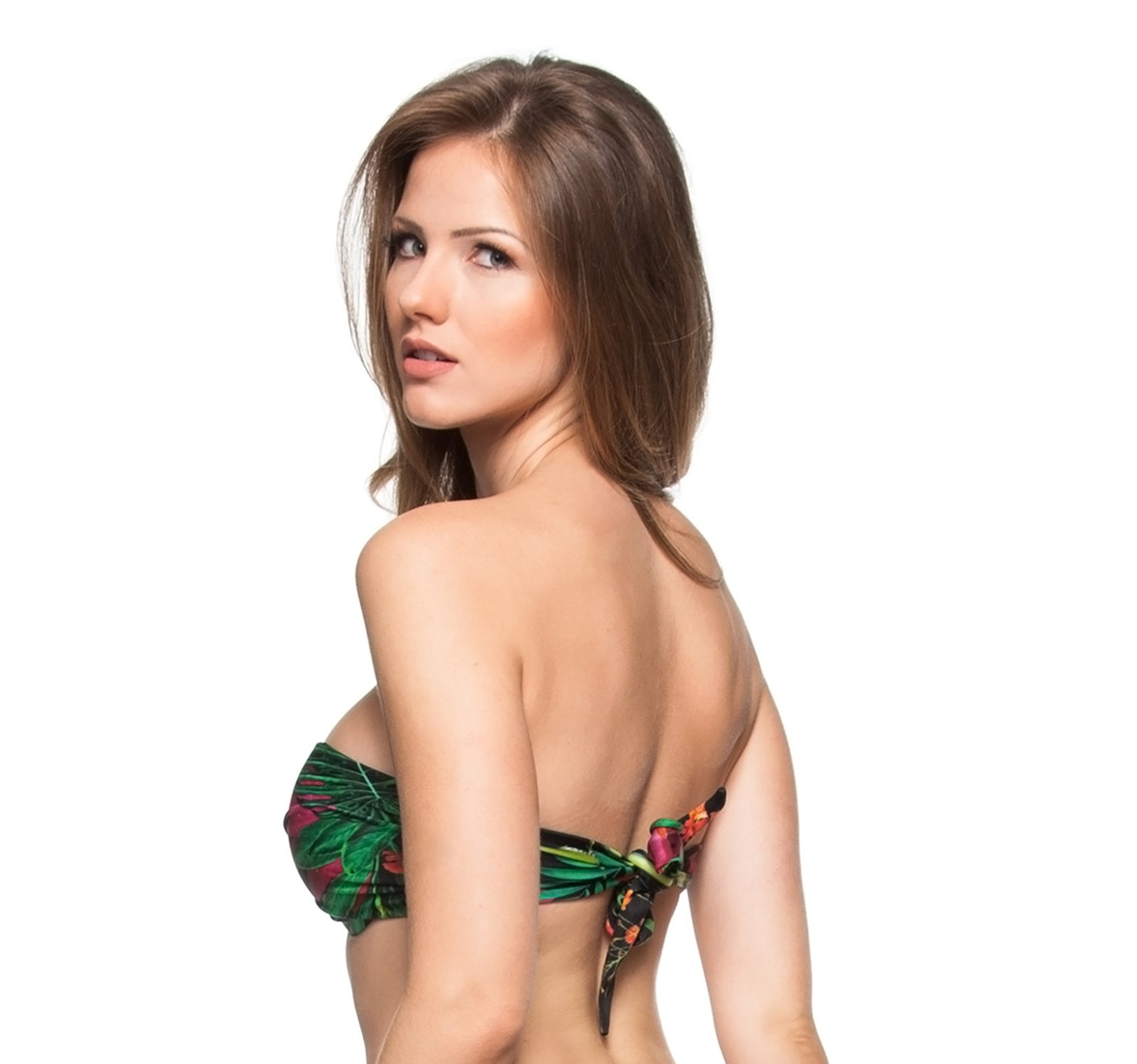 6fb11cacc6 Black Bandeau Bikini Top With A Tropical Print - Top Praia Bela - La ...