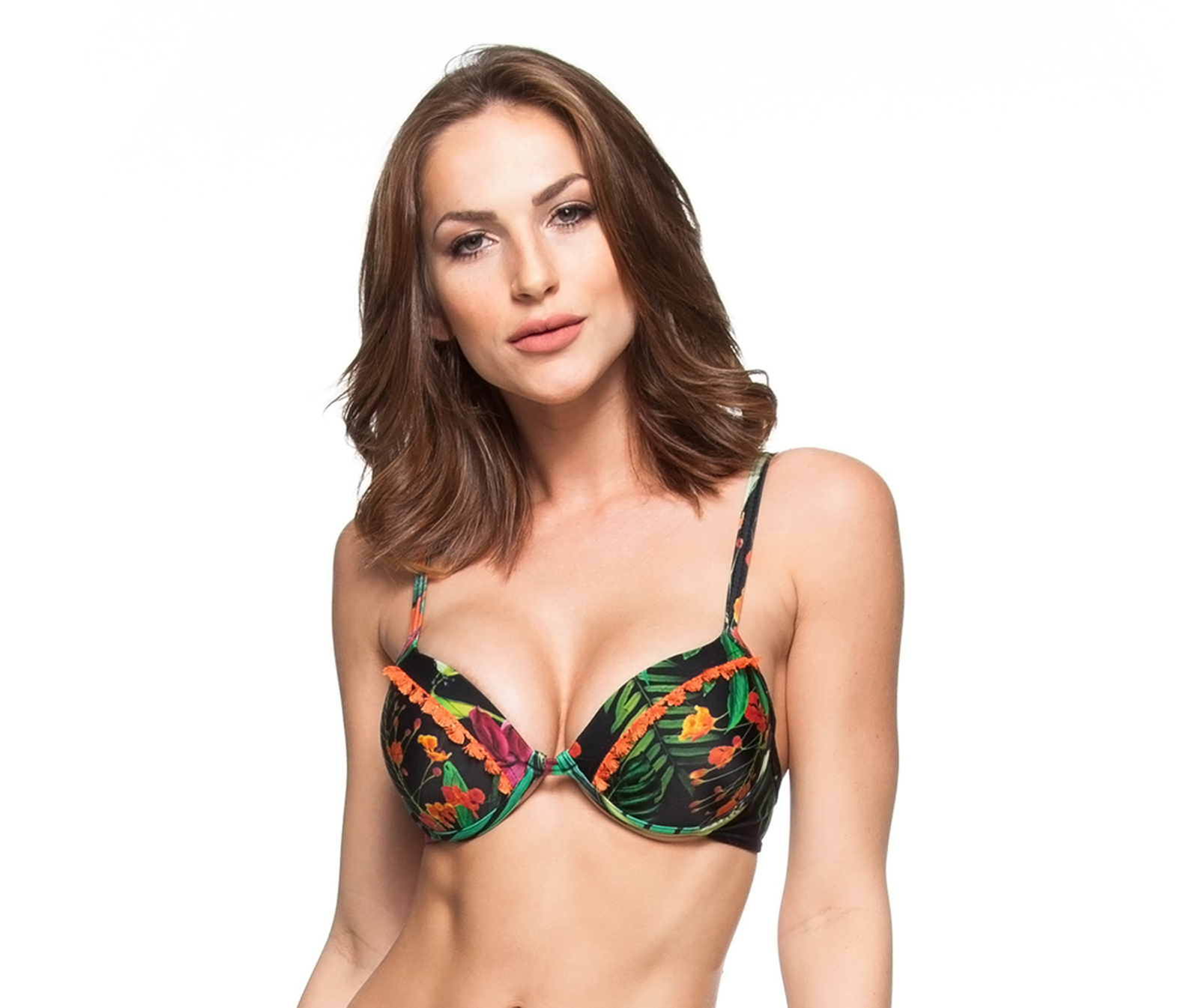 3a5bfb48dd Black balconette push-up bikini top with floral print - TOP RIO VERDE ...