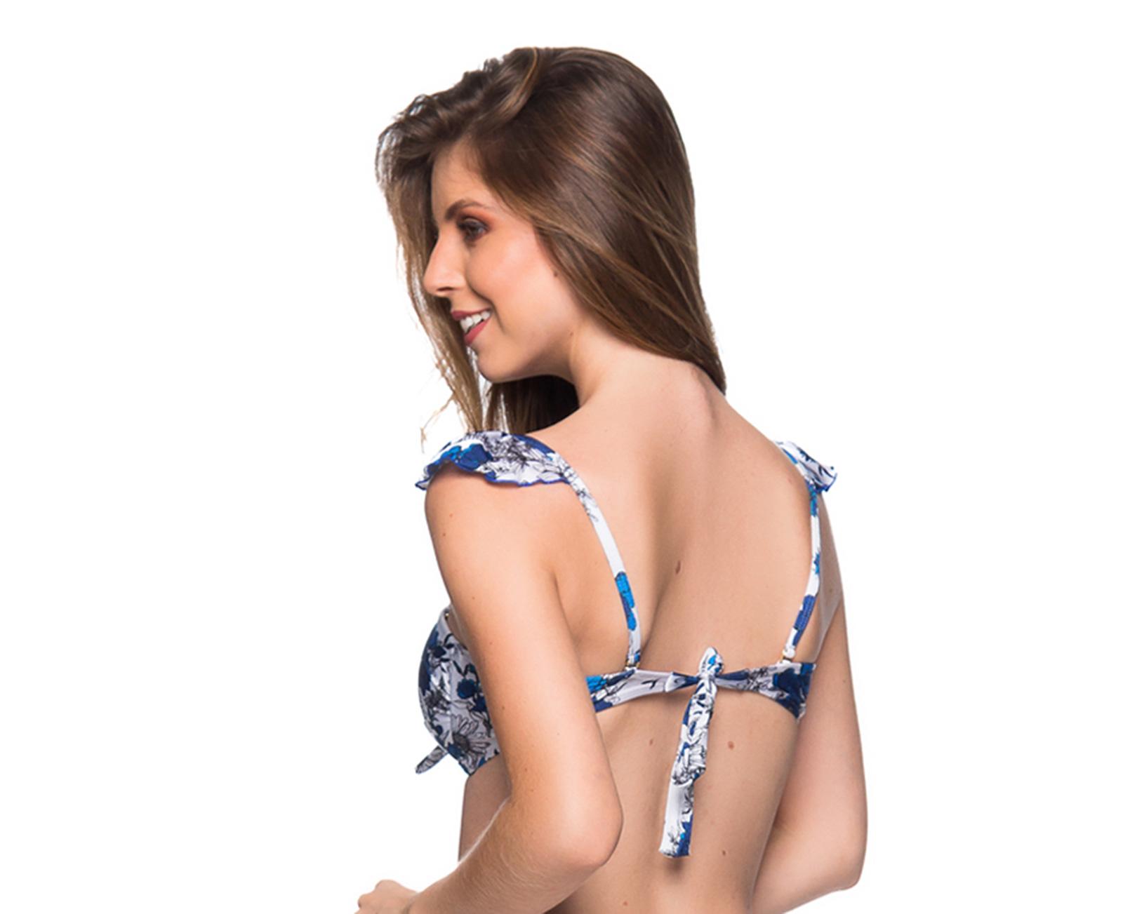 c92520e39 Sutiãs Cai-cai Floral Azul, Alças Removíveis - Top Tiras Atoba