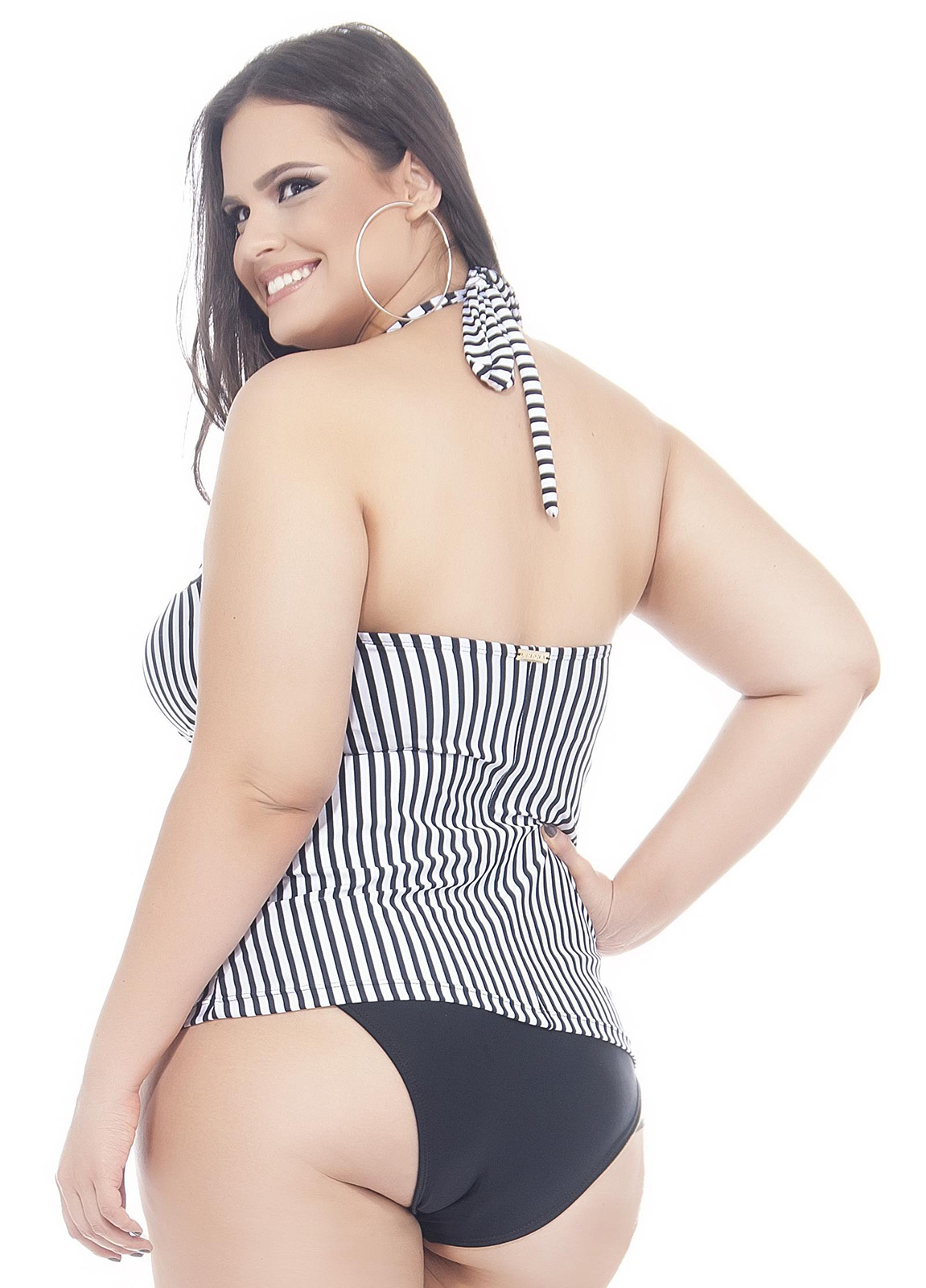 f8de25a1b0 Plus-size Black white Striped Tankini Top - Soutien Sol E Lua - Lehona