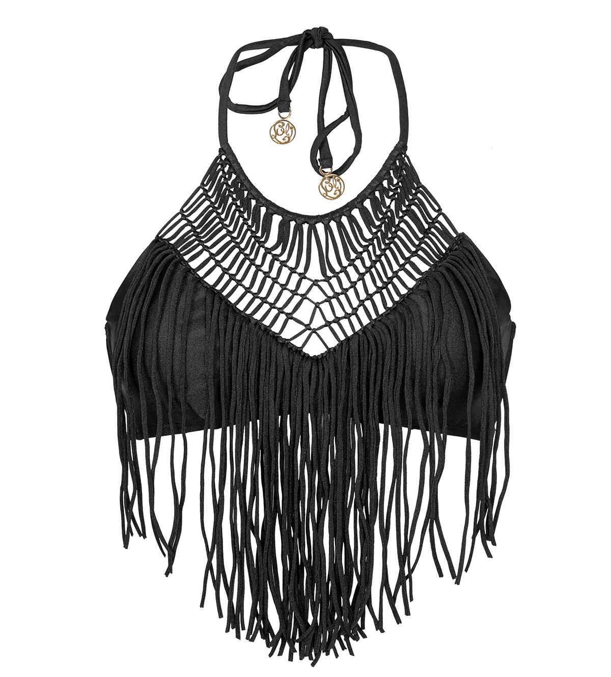 crop top bikini oberteil farbe schwarz mit makramee und. Black Bedroom Furniture Sets. Home Design Ideas
