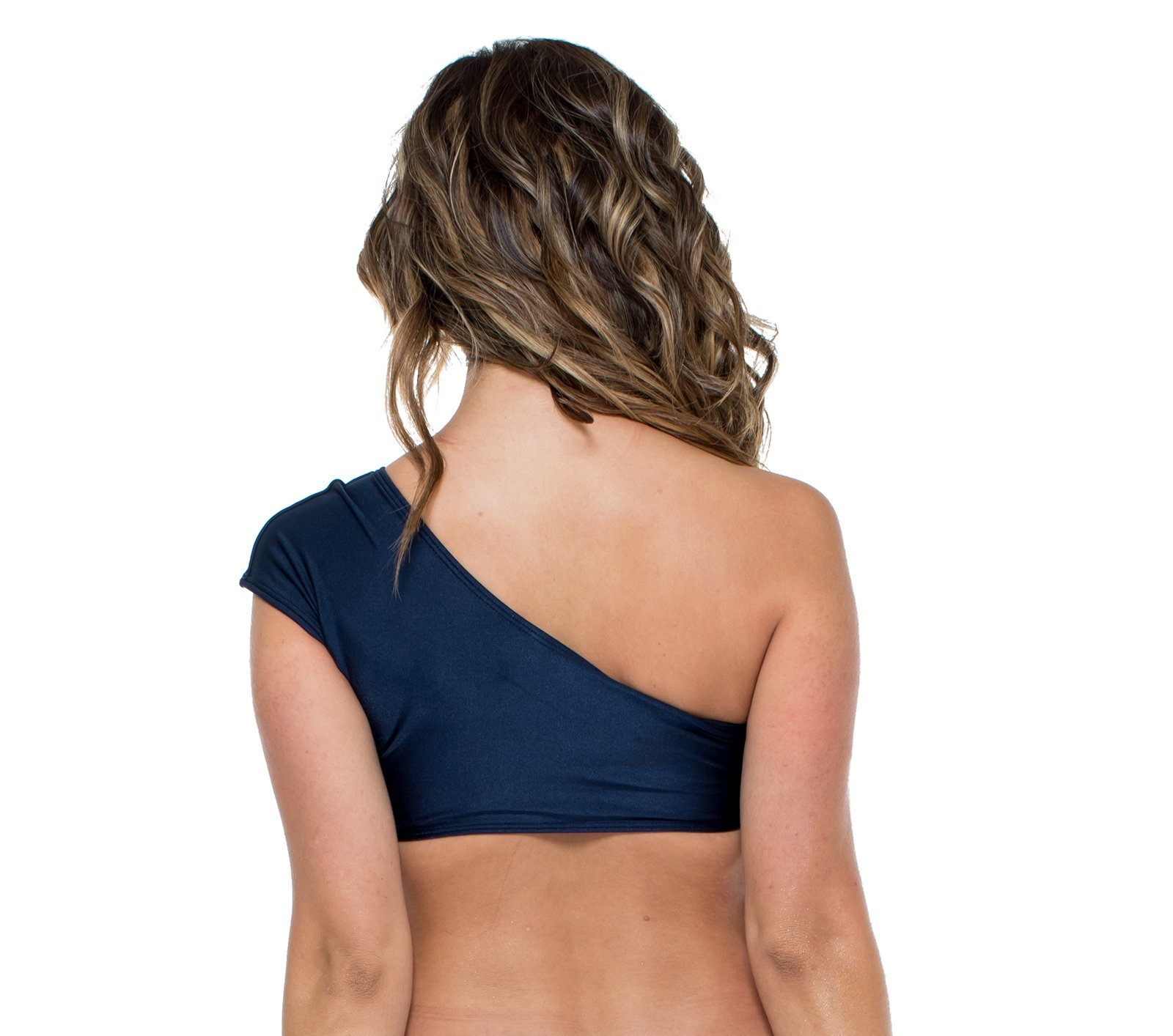 5f167451ece ... Navy blue one shoulder crop top with side lacing - TOP MAMBO SONIA  MARINHO ...
