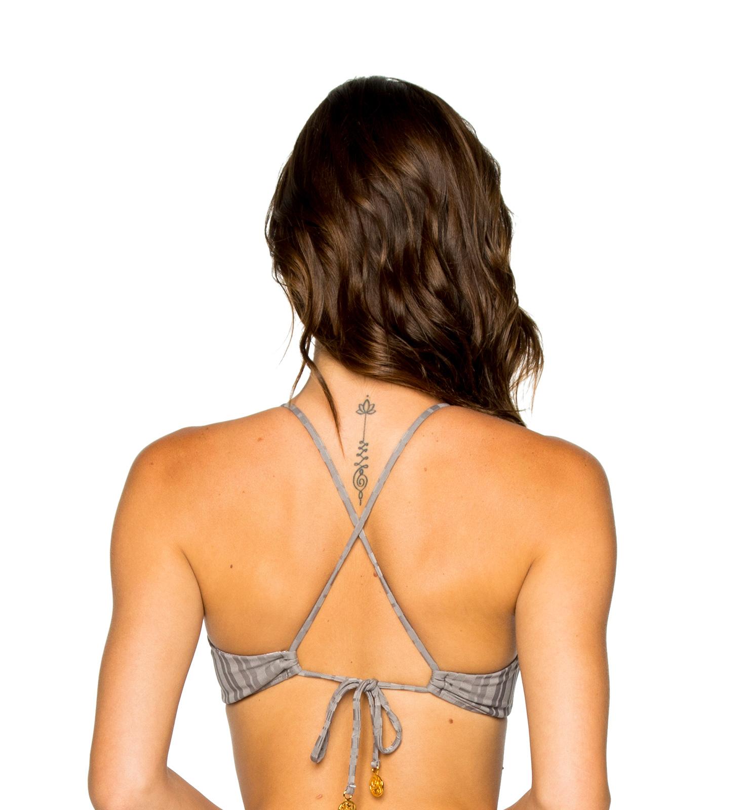 6fbe21c09da ... Grey bikini top with crossed back and ring detail - TOP RING GREY TURI  TURAI ...