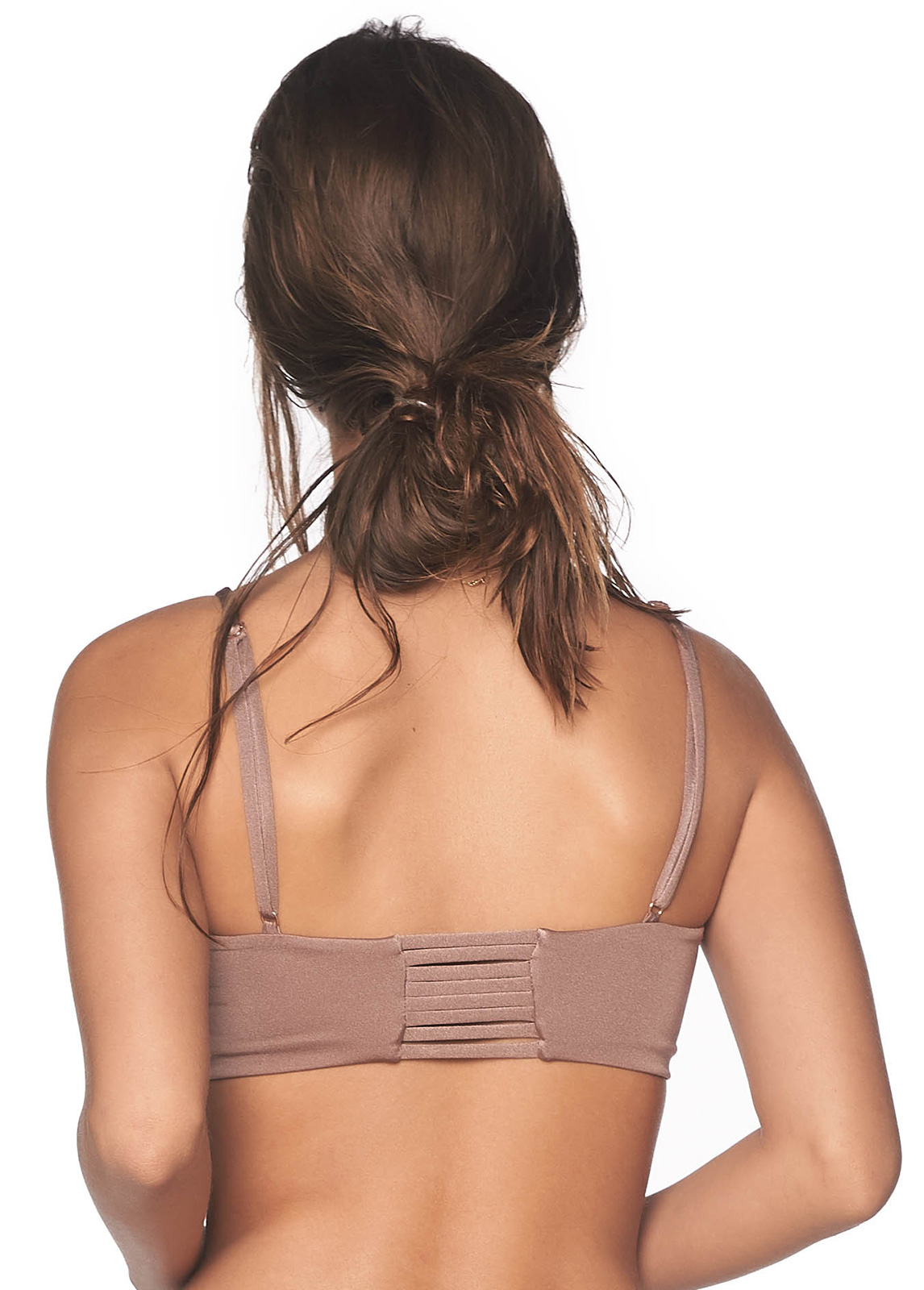 bbc5c0282936f Iridescent Taupe Bikini Top With Straps - Top Benegal Sparkly Taupe ...