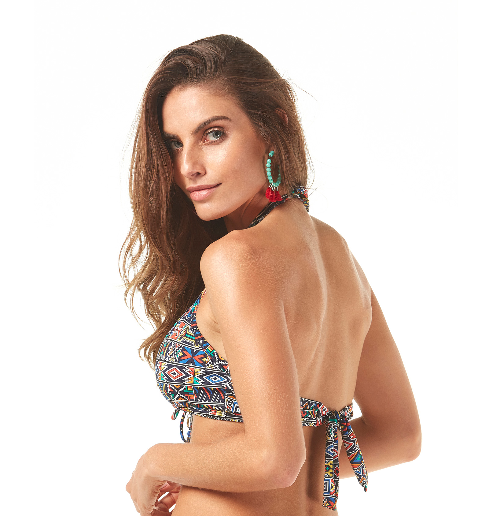 89e9eed25b Bikini Tops Ethnic Print Bra Top With Pompoms - Soutien Maia