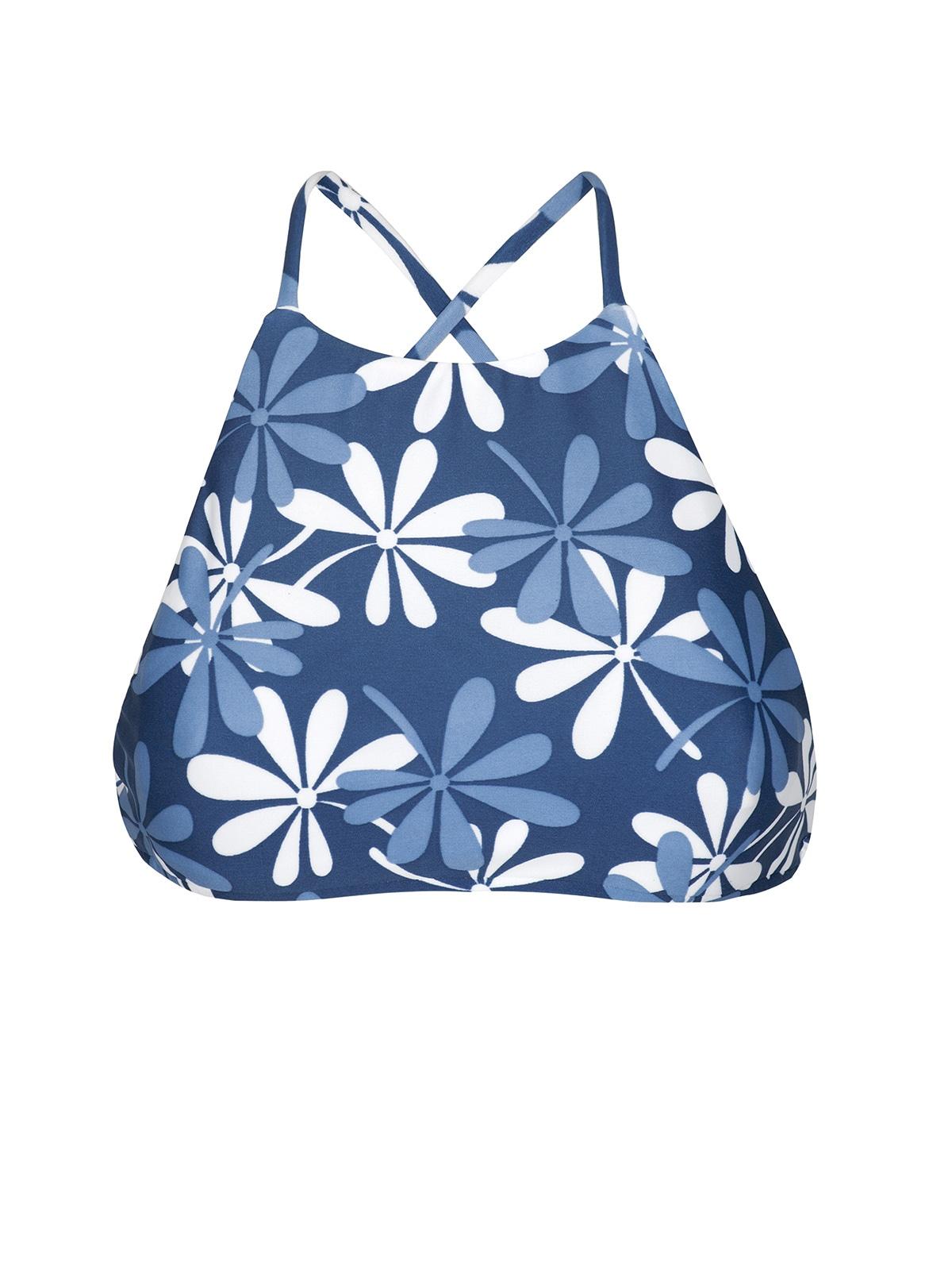 6f9fd837e Top Crop De Baño Azul Y Blanco Con Flores - Soutien Maresia Sporty ...