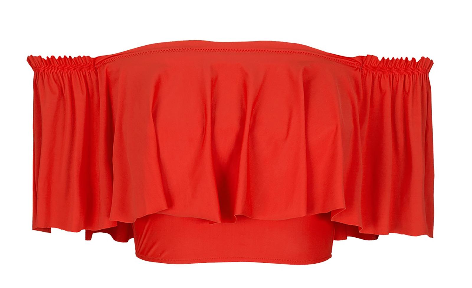 42169899f707f Orangey-red Bandeau Top With Wide Frills - Soutien Urucum Babado ...