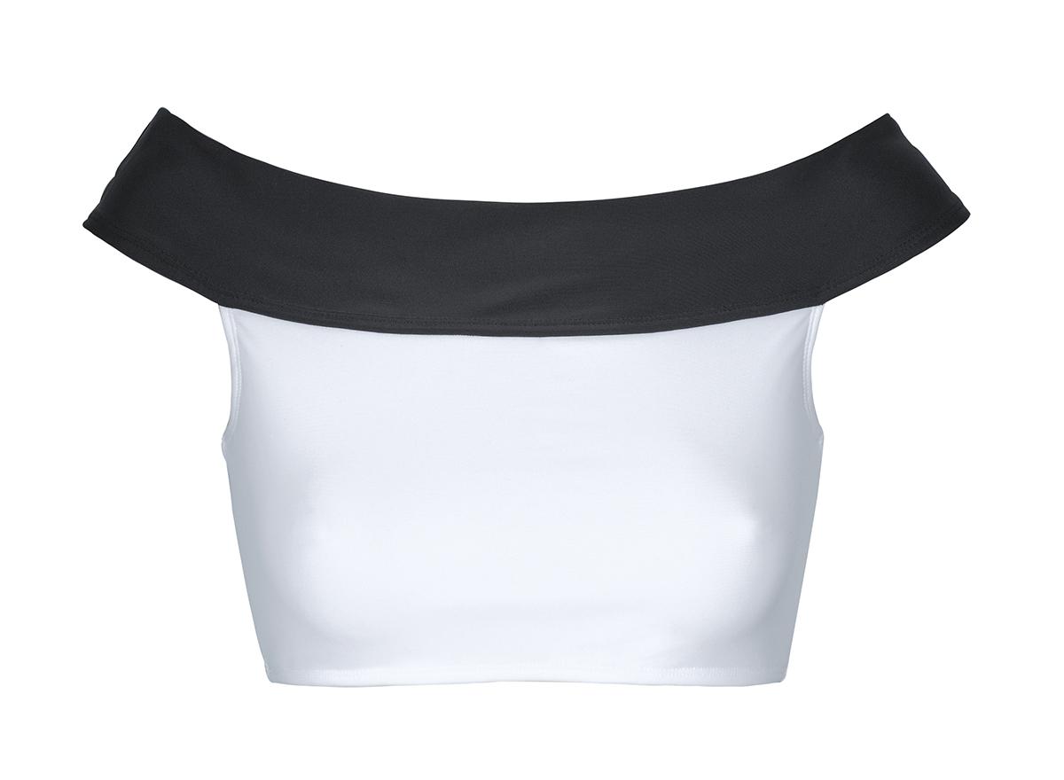 haut de bikini crop top col bardot blanc noir soutien white and black. Black Bedroom Furniture Sets. Home Design Ideas