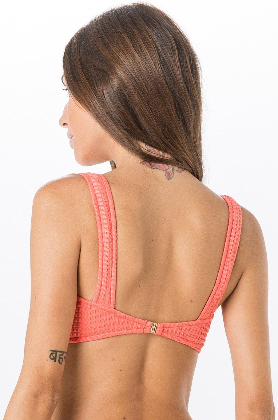 fa8c2110f06fd Bikini Tops Coral Textured Bra Bikini Top - Top Miracle Anarruga Coral