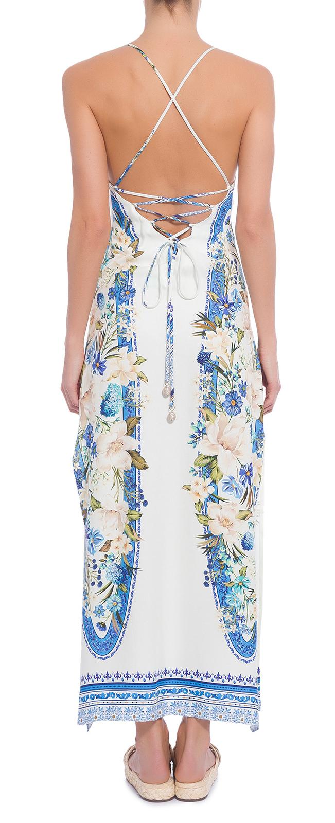 Vestido Comprido Direito Branco C Flores Costas Laçadas Vestido Farm Reto Fenda Floral Tavira