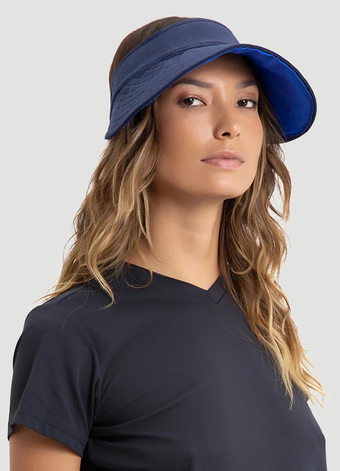 9dda2fe7d ... Reversible navy / blue feminine visor - SPF50 - VISEIRA BALI AZUL E  MARINHO - SOLAR